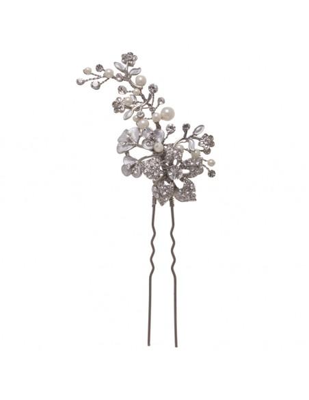 Horquilla joya con motivos florales, cristal y perla natural