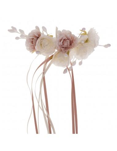 Tocado  Athena Marfil/Rosa