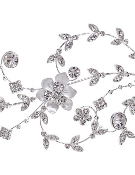 Tocado joya en plata mate y cristal