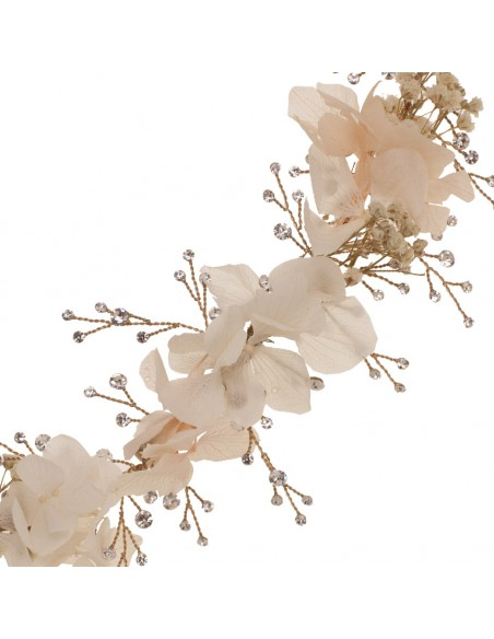 Tocado joya con hortensia natural