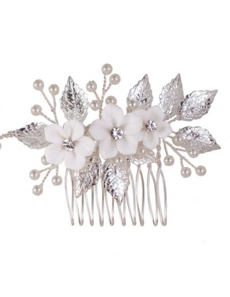 Tocado joya con cristal y flores de porcelana