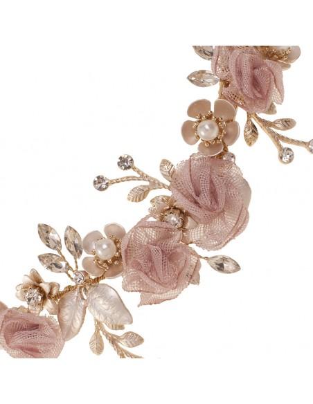Tocado en color nude con cristal y perla