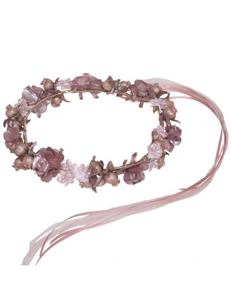 corona de flores para comunión, arras e invitadas. Adela Rosa Viejo/Rosa detalle