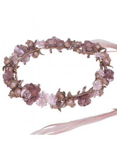 corona de flores para comunión, arras e invitadas. Adela Rosa Viejo/Rosa