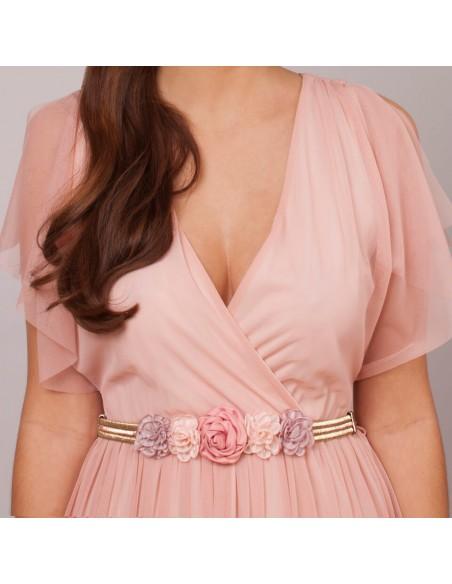 modelo cinturón Brigitte rosa oro