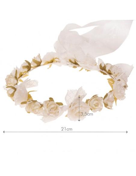 Corona de flores para comunión, arras e invitadas. Medidas. Inga Marfil