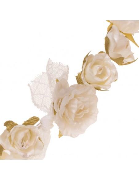 Corona de flores para comunión, arras e invitadas. Detalle. Inga Marfil
