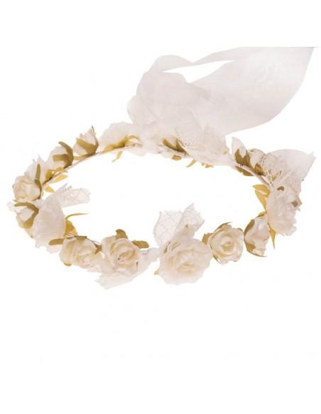 Corona de flores para comunión, arras e invitadas. Inga marfil