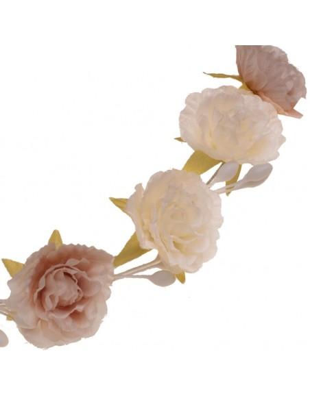 Corona flores comunión, arras e invitadas. Julia Rosa/Marfil. Detalle