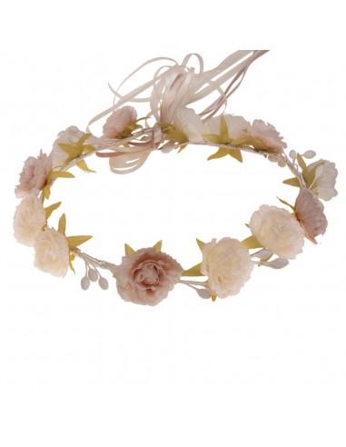 Corona flores comunión, arras e invitadas. Julia Rosa/Marfil