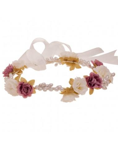 Corona de flores y semillas para comunión, arras e invitadas. Jacinta Marfil/Rosa Viejo