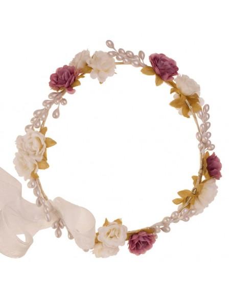 Corona de flores y semillas para comunión, arras e invitadas. Jacinta Marfil/Rosa Viejo. Detalle