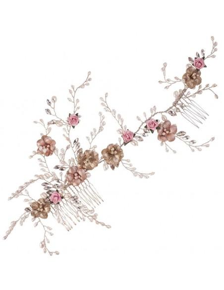 Tocado-joya-oro viejo-rosa-perla natural