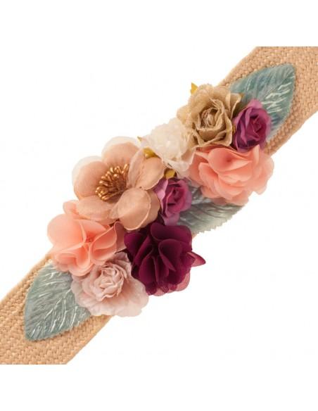 cinturón Ali multicolor invitada con flores