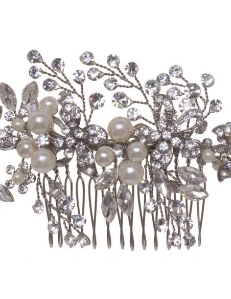 Peineta cristal y perla natural