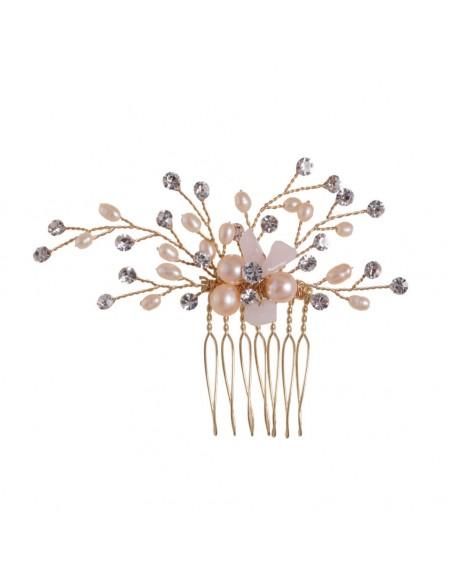 Peineta joya con con detalles florales