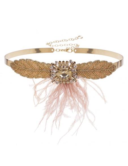cinturón fiesta oro con pluma rosa