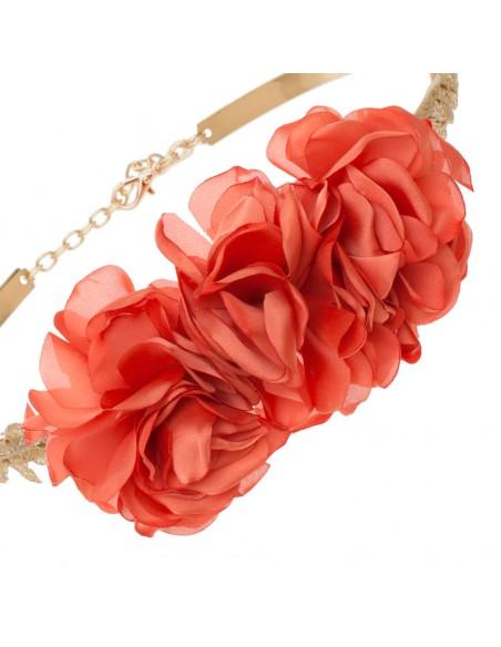 cinturón flores naranja para invitada