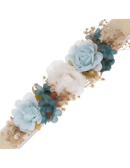 Cinturón de flores para vestido de comunión. Merche Celeste/Oro