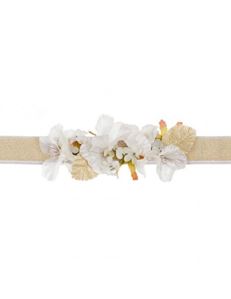 Cinturón de flores para vestido de comunión.  Julia Marfil/Oro
