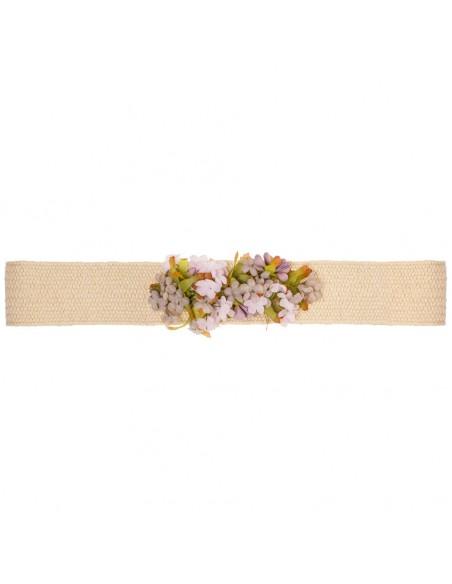 Cinturón de flores para vestido de comunión o invitada. Miriam Marfil/Tostado.